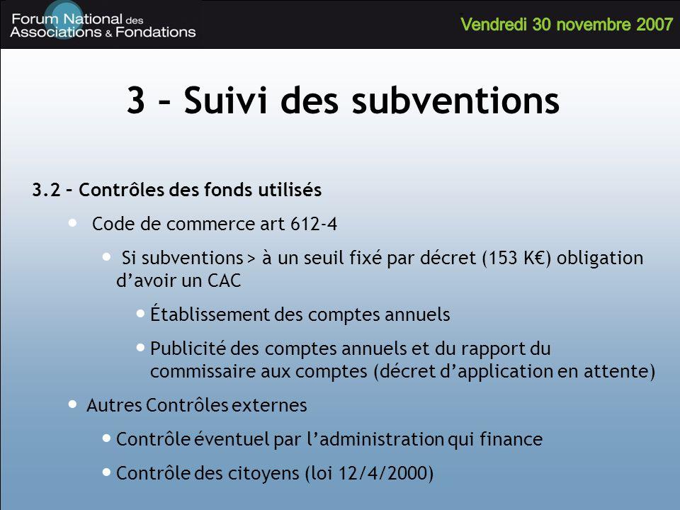 3.2 – Contrôles des fonds utilisés Code de commerce art 612-4 Si subventions > à un seuil fixé par décret (153 K) obligation davoir un CAC Établisseme