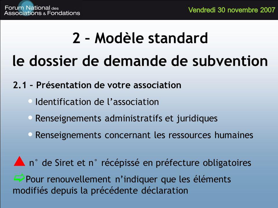2.1 – Présentation de votre association Identification de lassociation Renseignements administratifs et juridiques Renseignements concernant les resso
