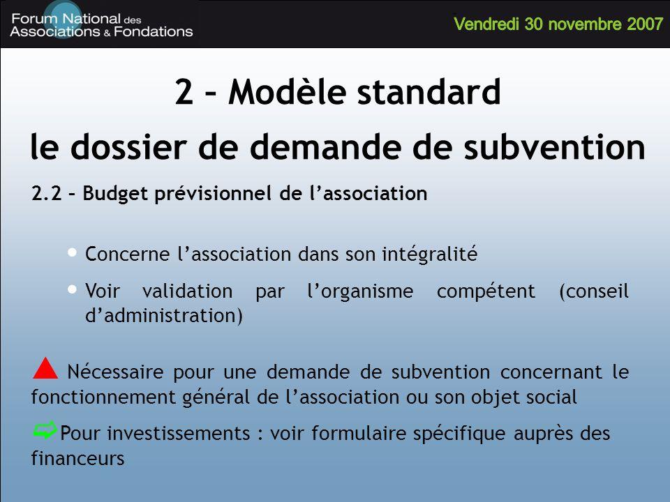 2.2 – Budget prévisionnel de lassociation Concerne lassociation dans son intégralité Voir validation par lorganisme compétent (conseil dadministration