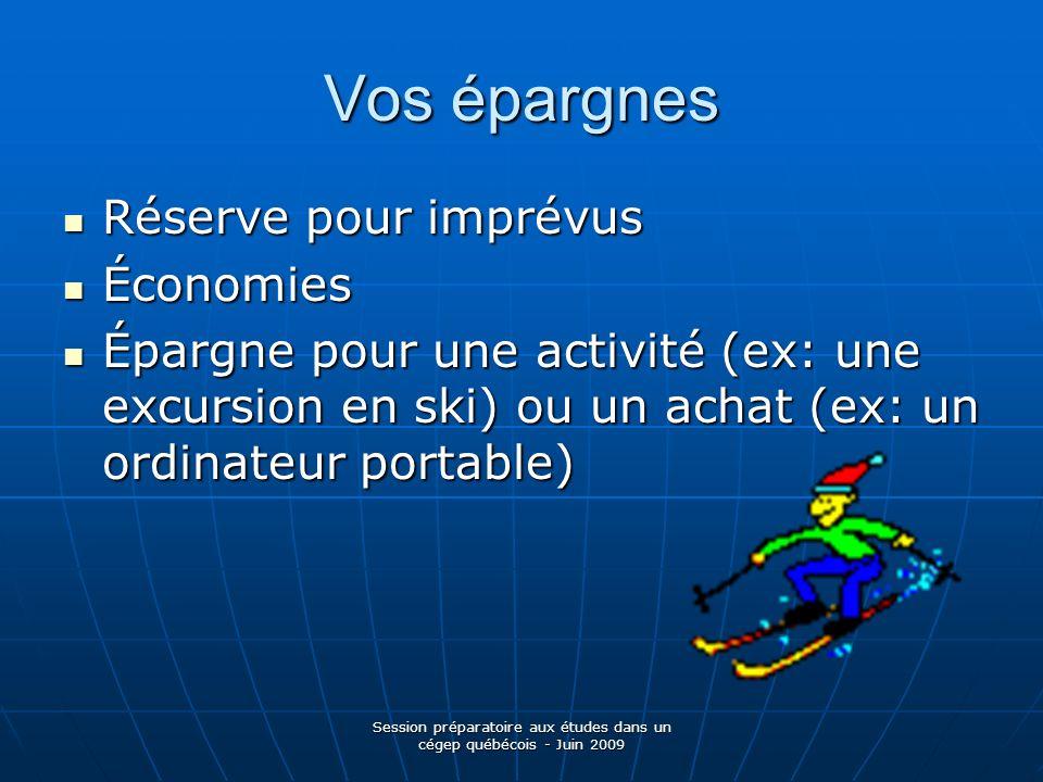 Session préparatoire aux études dans un cégep québécois - Juin 2009 Vos épargnes Réserve pour imprévus Réserve pour imprévus Économies Économies Éparg