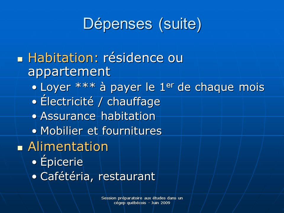 Session préparatoire aux études dans un cégep québécois - Juin 2009 Dépenses (suite) Habitation: résidence ou appartement Habitation: résidence ou app