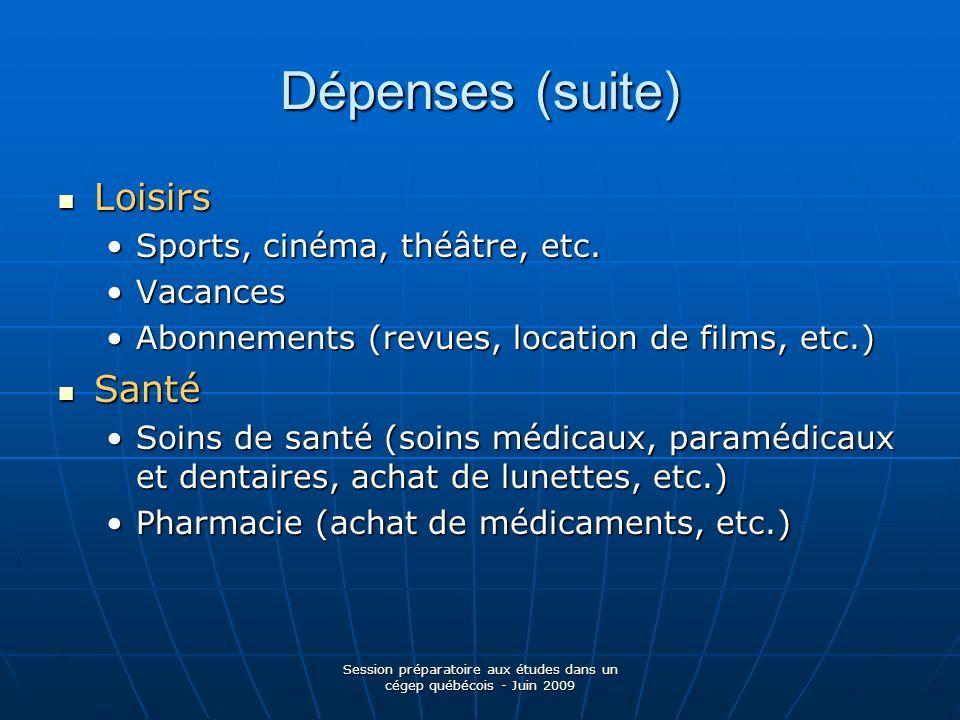 Session préparatoire aux études dans un cégep québécois - Juin 2009 Dépenses (suite) Loisirs Loisirs Sports, cinéma, théâtre, etc.Sports, cinéma, théâ