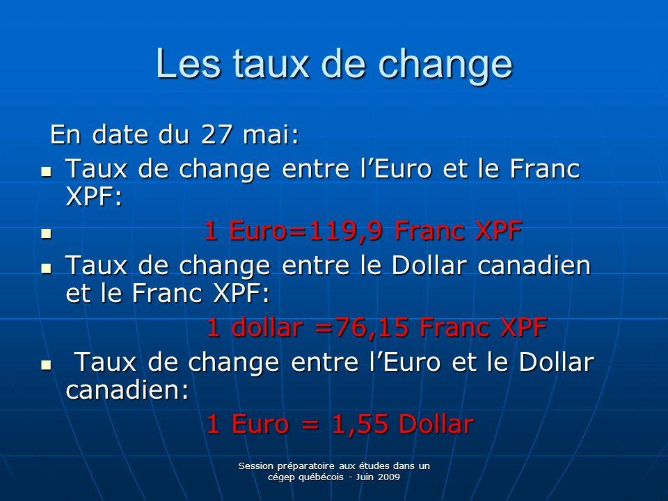 Session préparatoire aux études dans un cégep québécois - Juin 2009 Les taux de change En date du 27 mai: En date du 27 mai: Taux de change entre lEur
