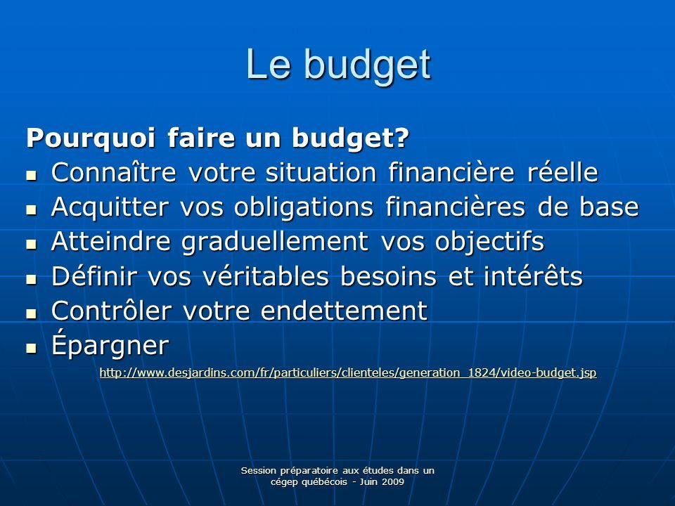 Session préparatoire aux études dans un cégep québécois - Juin 2009 Le budget Pourquoi faire un budget? Connaître votre situation financière réelle Co
