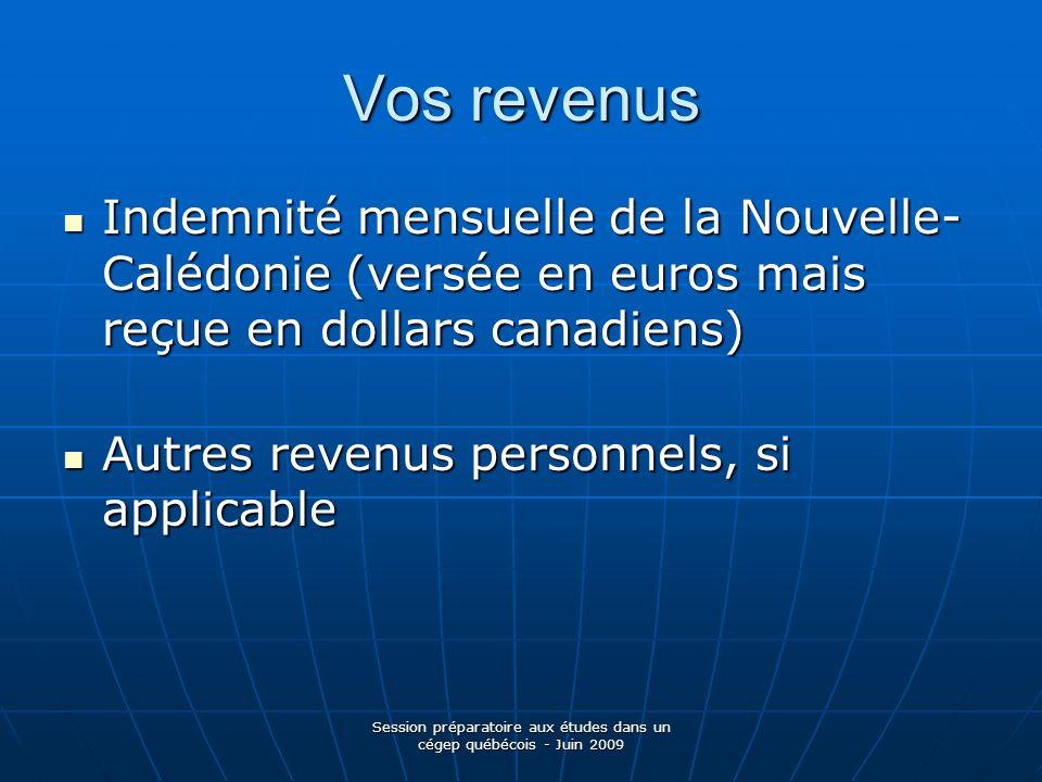 Session préparatoire aux études dans un cégep québécois - Juin 2009 Vos revenus Indemnité mensuelle de la Nouvelle- Calédonie (versée en euros mais re