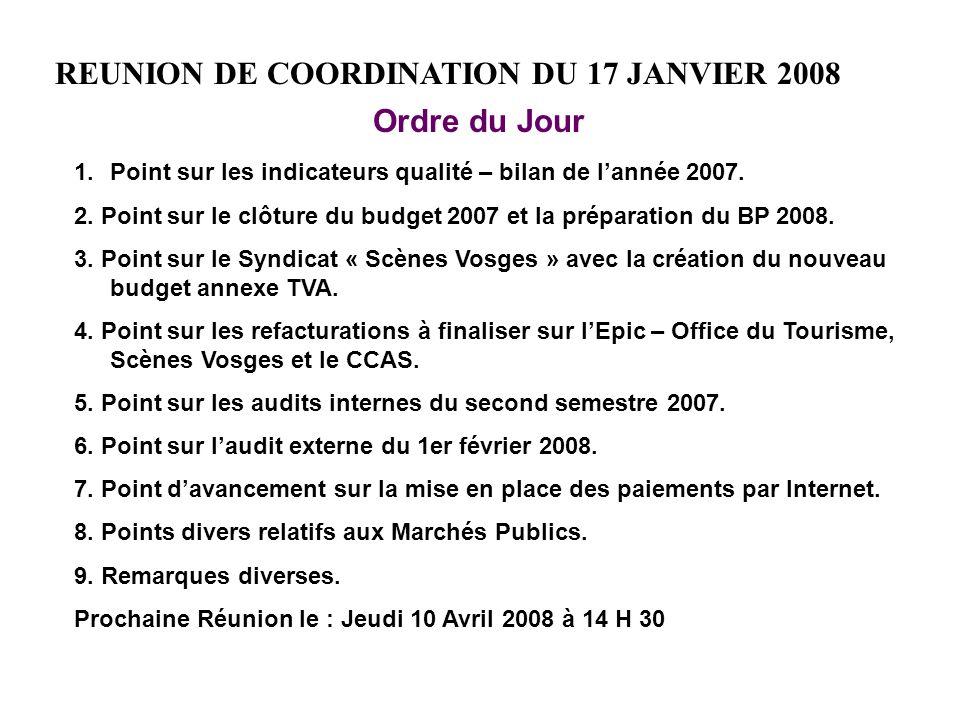 REUNION DE COORDINATION DU 17 JANVIER 2008 Ordre du Jour 1.Point sur les indicateurs qualité – bilan de lannée 2007.