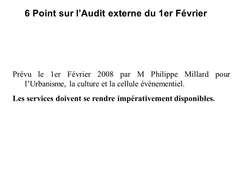 6 Point sur lAudit externe du 1er Février Prévu le 1er Février 2008 par M Philippe Millard pour lUrbanisme, la culture et la cellule évènementiel.