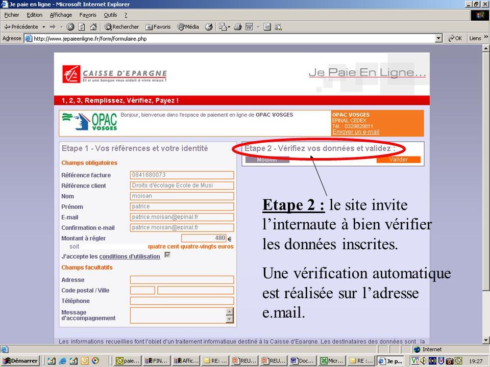 Etape 2 : le site invite linternaute à bien vérifier les données inscrites.