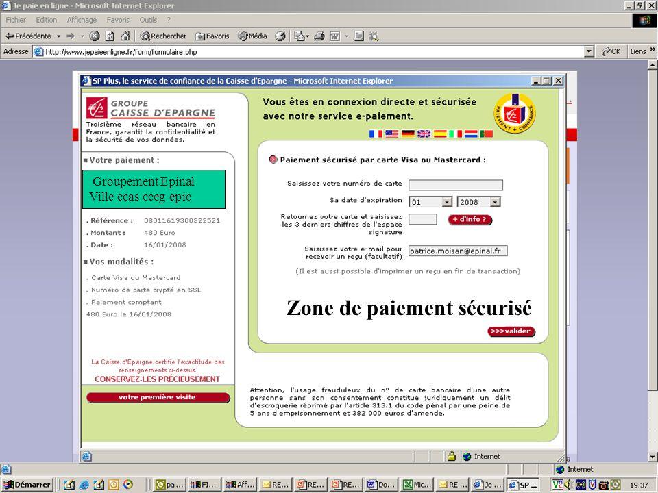 Zone de paiement sécurisé Groupement Epinal Ville ccas cceg epic