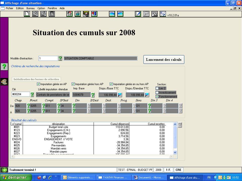 Situation des cumuls sur 2008