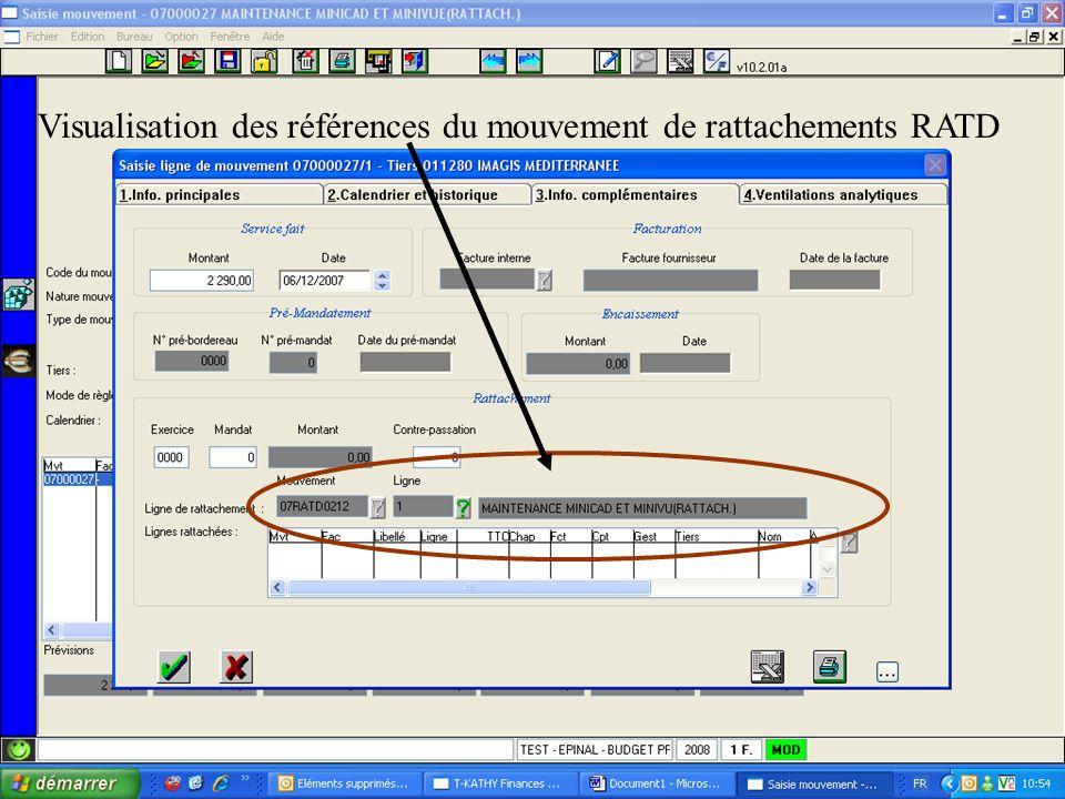 Visualisation des références du mouvement de rattachements RATD