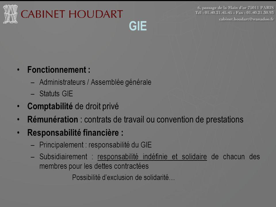 GIE Fonctionnement : –Administrateurs / Assemblée générale –Statuts GIE Comptabilité de droit privé Rémunération : contrats de travail ou convention d