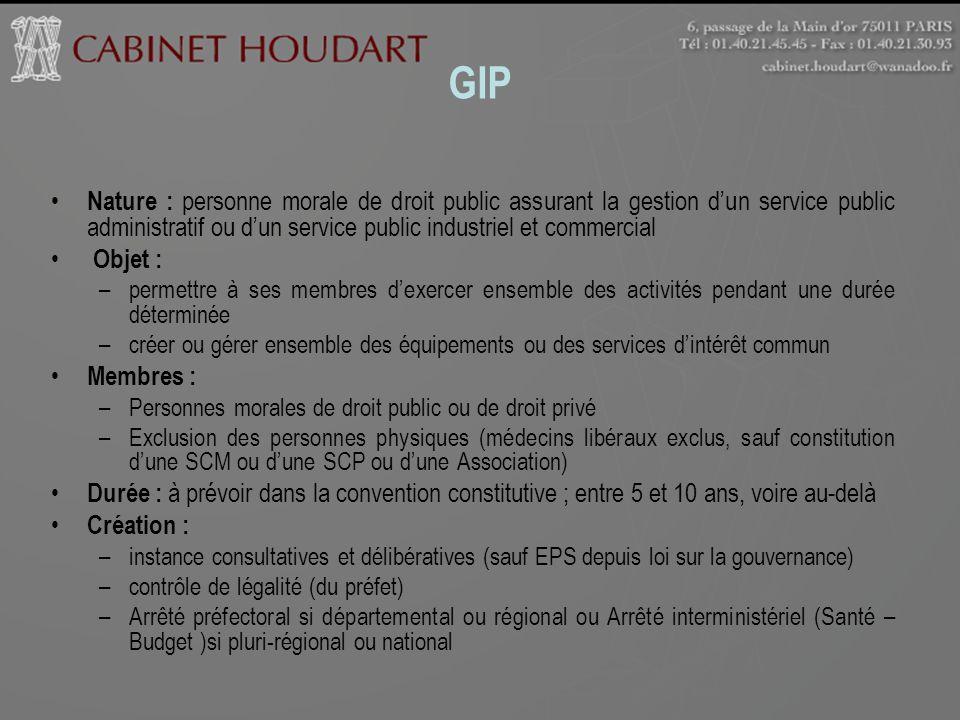 GIP Nature : personne morale de droit public assurant la gestion dun service public administratif ou dun service public industriel et commercial Objet