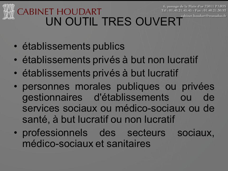 UN OUTIL TRES OUVERT établissements publics établissements privés à but non lucratif établissements privés à but lucratif personnes morales publiques