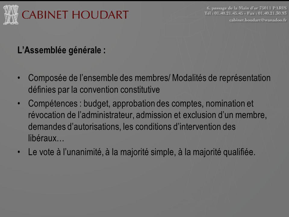 LAssemblée générale : Composée de lensemble des membres/ Modalités de représentation définies par la convention constitutive Compétences : budget, app