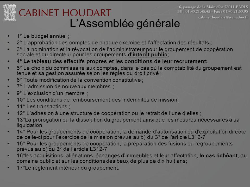 LAssemblée générale 1° Le budget annuel ; 2° Lapprobation des comptes de chaque exercice et laffectation des résultats ; 3° La nomination et la révoca