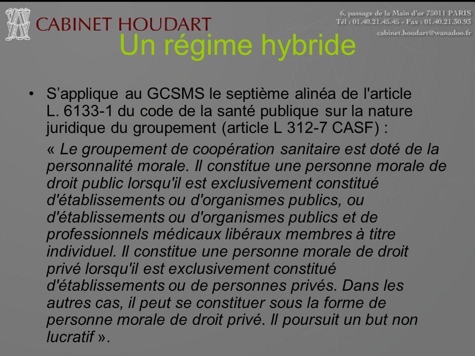 Un régime hybride Sapplique au GCSMS le septième alinéa de l'article L. 6133-1 du code de la santé publique sur la nature juridique du groupement (art