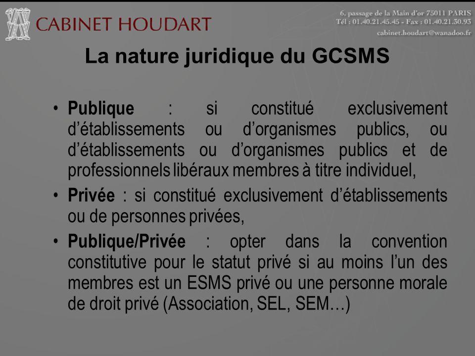 La nature juridique du GCSMS Publique : si constitué exclusivement détablissements ou dorganismes publics, ou détablissements ou dorganismes publics e