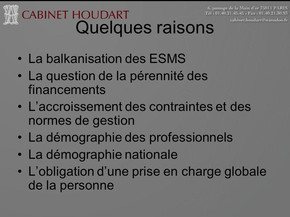 Quelques raisons La balkanisation des ESMS La question de la pérennité des financements Laccroissement des contraintes et des normes de gestion La dém