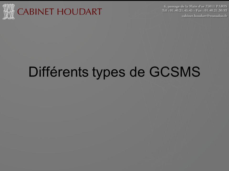 Différents types de GCSMS