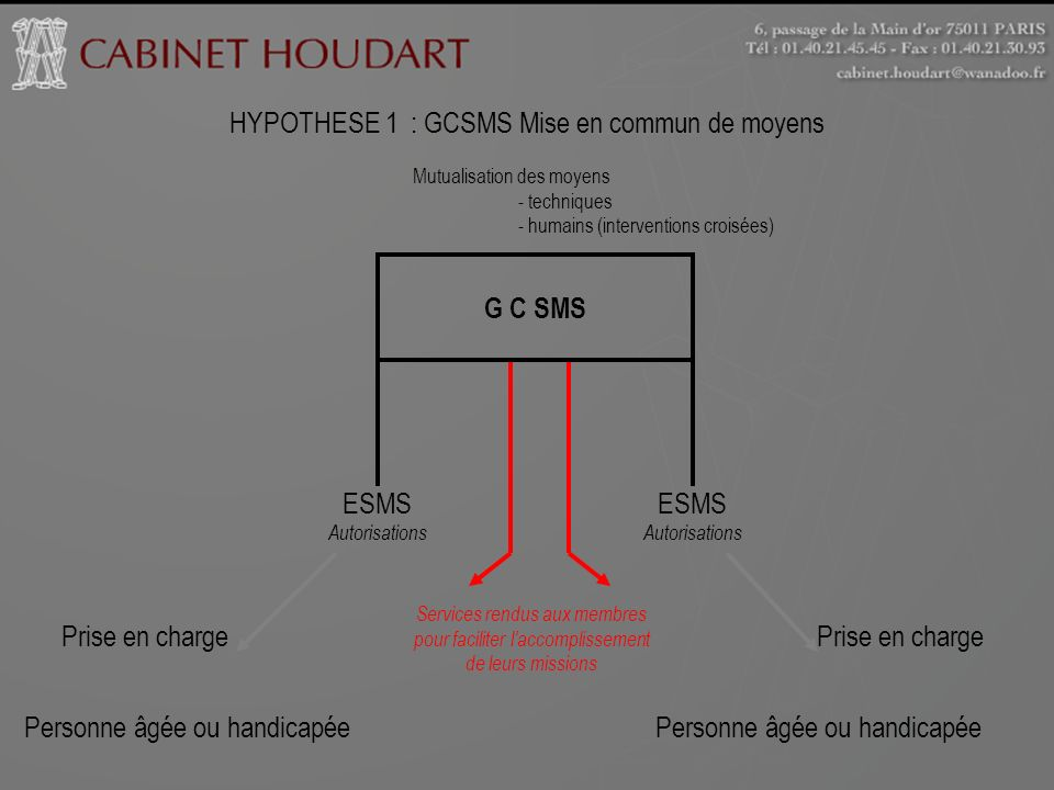 HYPOTHESE 1 : GCSMS Mise en commun de moyens Mutualisation des moyens - techniques - humains (interventions croisées) G C SMS ESMS Autorisations ESMS