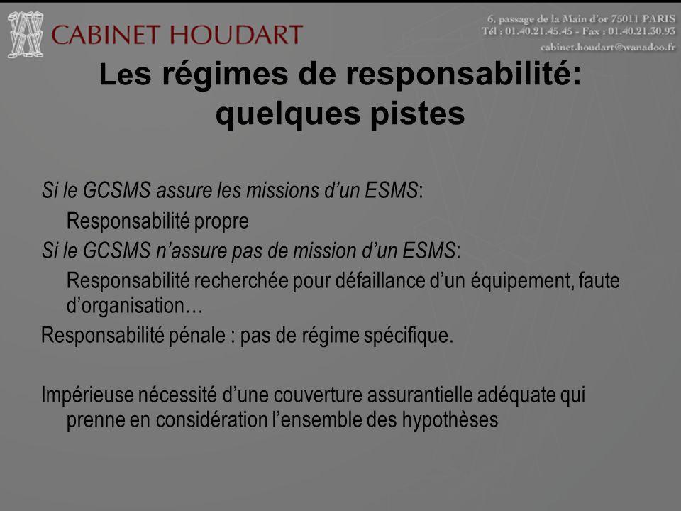 Le s régimes de responsabilité: quelques pistes Si le GCSMS assure les missions dun ESMS : Responsabilité propre Si le GCSMS nassure pas de mission du