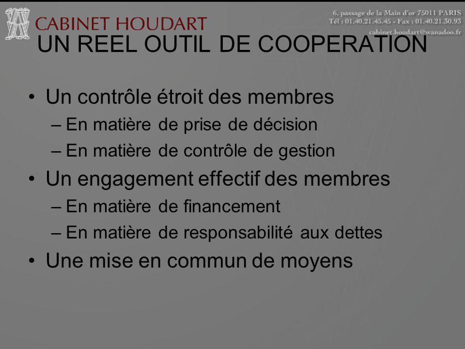 UN REEL OUTIL DE COOPERATION Un contrôle étroit des membres –En matière de prise de décision –En matière de contrôle de gestion Un engagement effectif