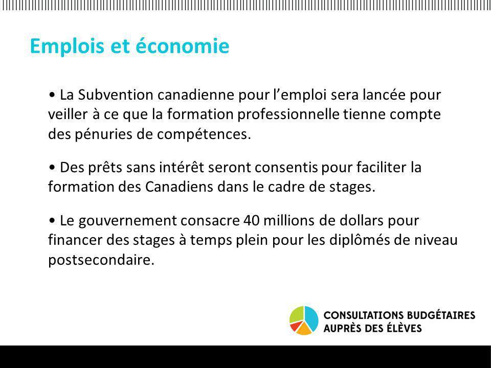 Emplois et économie La Subvention canadienne pour lemploi sera lancée pour veiller à ce que la formation professionnelle tienne compte des pénuries de compétences.