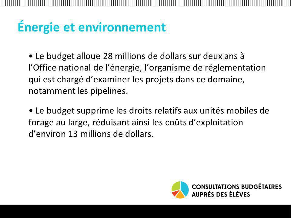 Énergie et environnement Le budget alloue 28 millions de dollars sur deux ans à lOffice national de lénergie, lorganisme de réglementation qui est chargé dexaminer les projets dans ce domaine, notamment les pipelines.