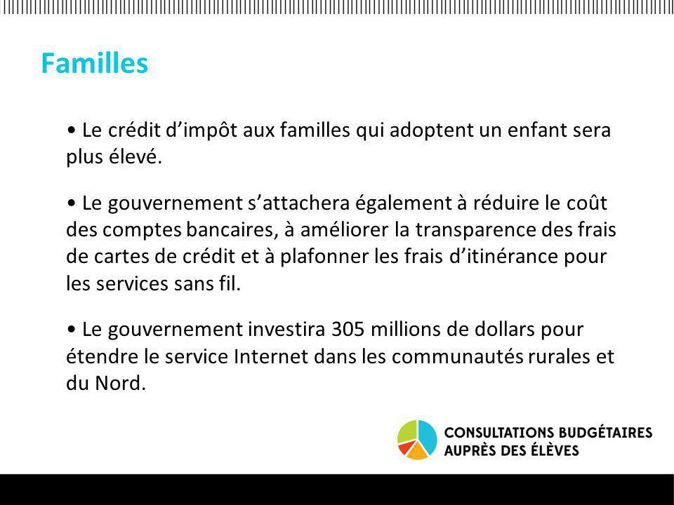 Familles Le crédit dimpôt aux familles qui adoptent un enfant sera plus élevé.