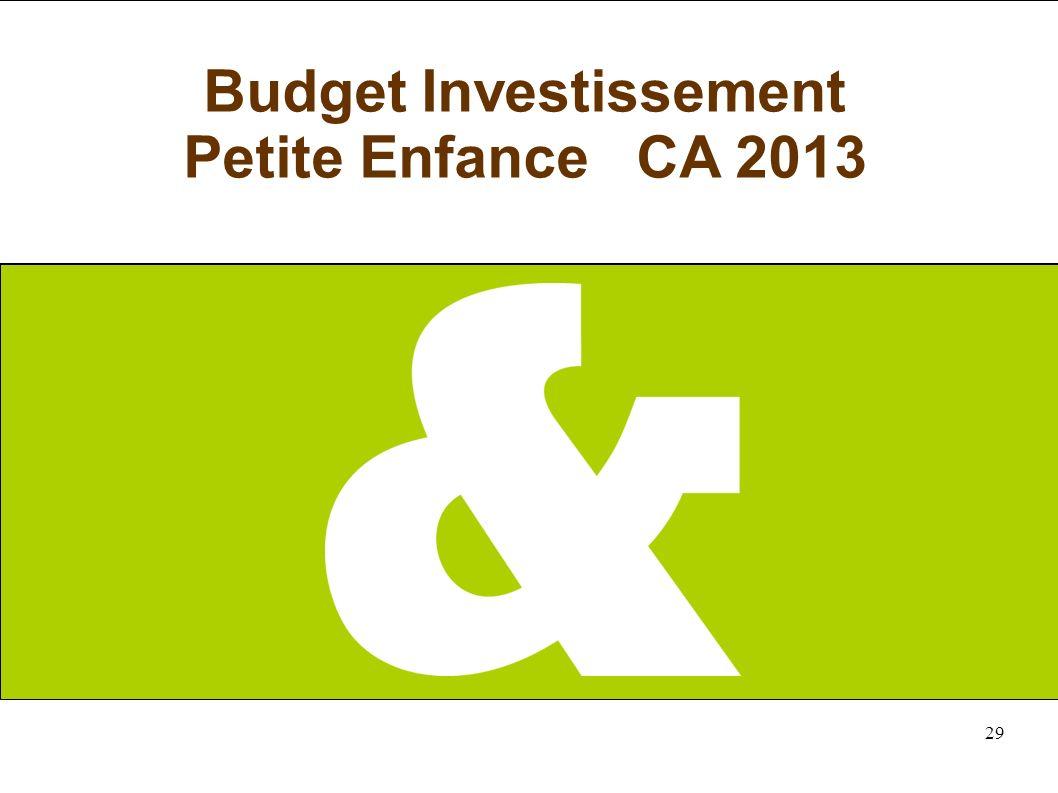 29 Budget Investissement Petite Enfance CA 2013
