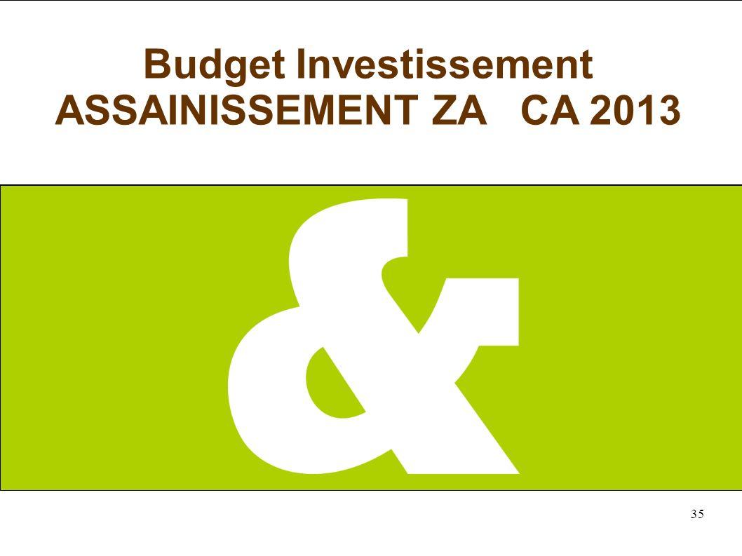 35 Budget Investissement ASSAINISSEMENT ZA CA 2013