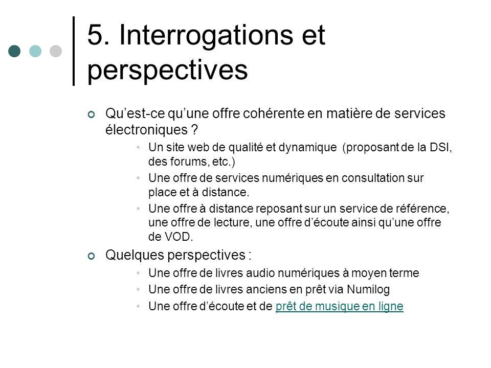 5. Interrogations et perspectives Quest-ce quune offre cohérente en matière de services électroniques ? Un site web de qualité et dynamique (proposant