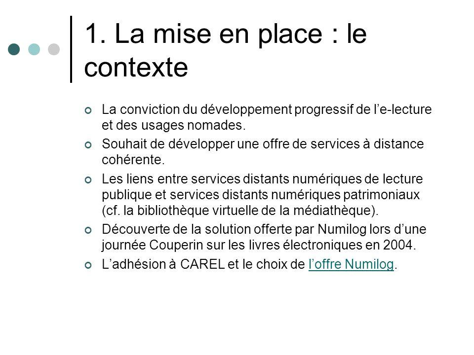1. La mise en place : le contexte La conviction du développement progressif de le-lecture et des usages nomades. Souhait de développer une offre de se