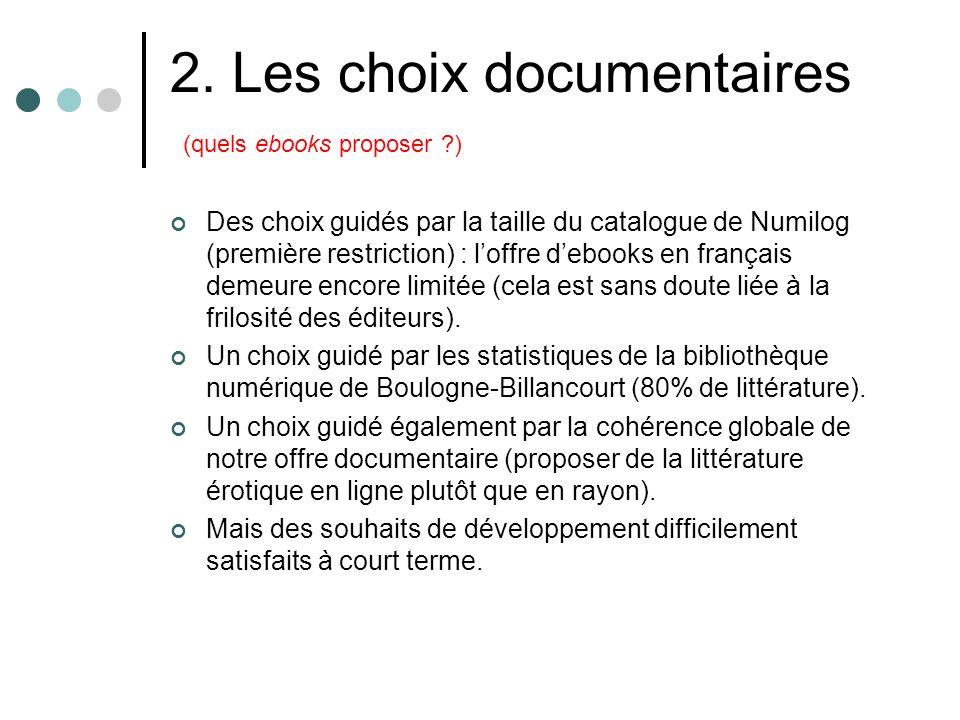 2. Les choix documentaires (quels ebooks proposer ?) Des choix guidés par la taille du catalogue de Numilog (première restriction) : loffre debooks en