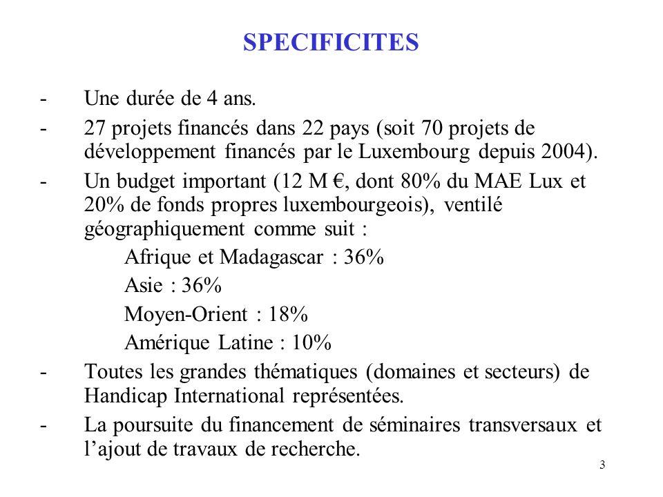 3 SPECIFICITES -Une durée de 4 ans. -27 projets financés dans 22 pays (soit 70 projets de développement financés par le Luxembourg depuis 2004). -Un b