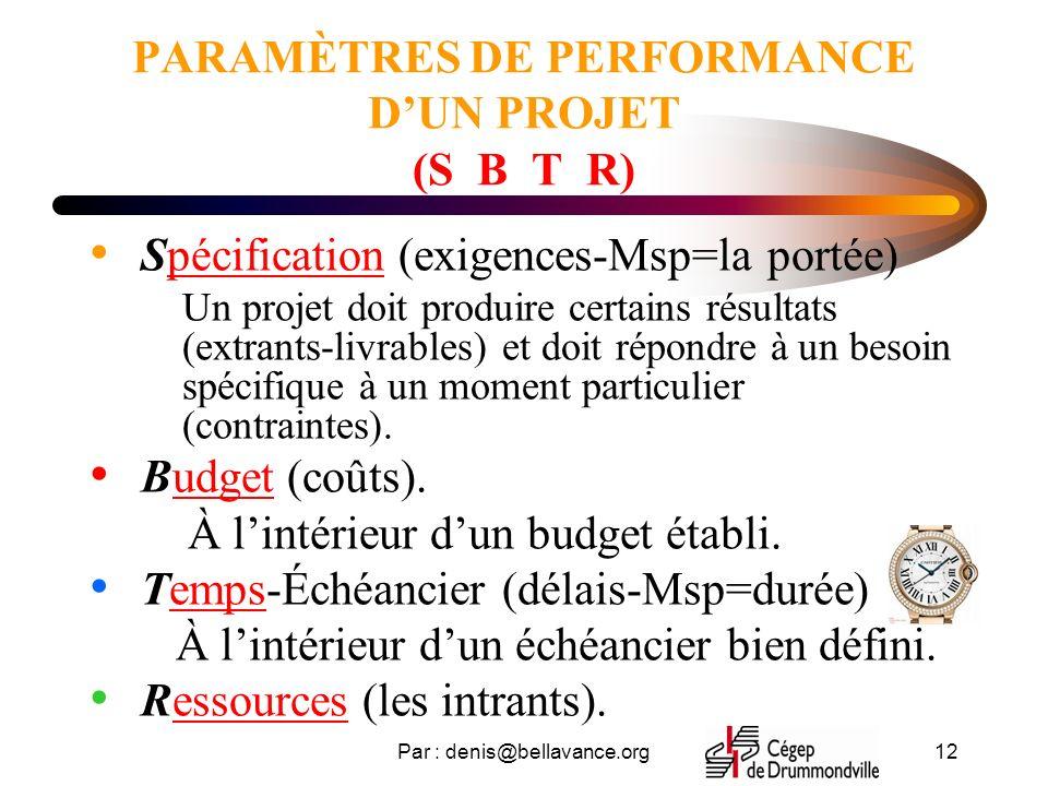 Par : denis@bellavance.org12 PARAMÈTRES DE PERFORMANCE DUN PROJET (S B T R) Spécification (exigences-Msp=la portée) Un projet doit produire certains résultats (extrants-livrables) et doit répondre à un besoin spécifique à un moment particulier (contraintes).