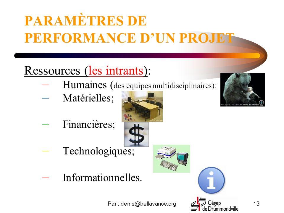 Par : denis@bellavance.org13 PARAMÈTRES DE PERFORMANCE DUN PROJET Ressources (les intrants): – Humaines ( des équipes multidisciplinaires); – Matérielles; – Financières; – Technologiques; – Informationnelles.
