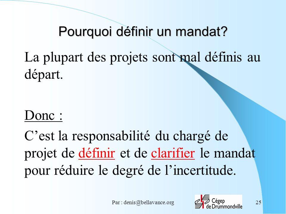 Par : denis@bellavance.org25 Pourquoi définir un mandat? La plupart des projets sont mal définis au départ. Donc : Cest la responsabilité du chargé de