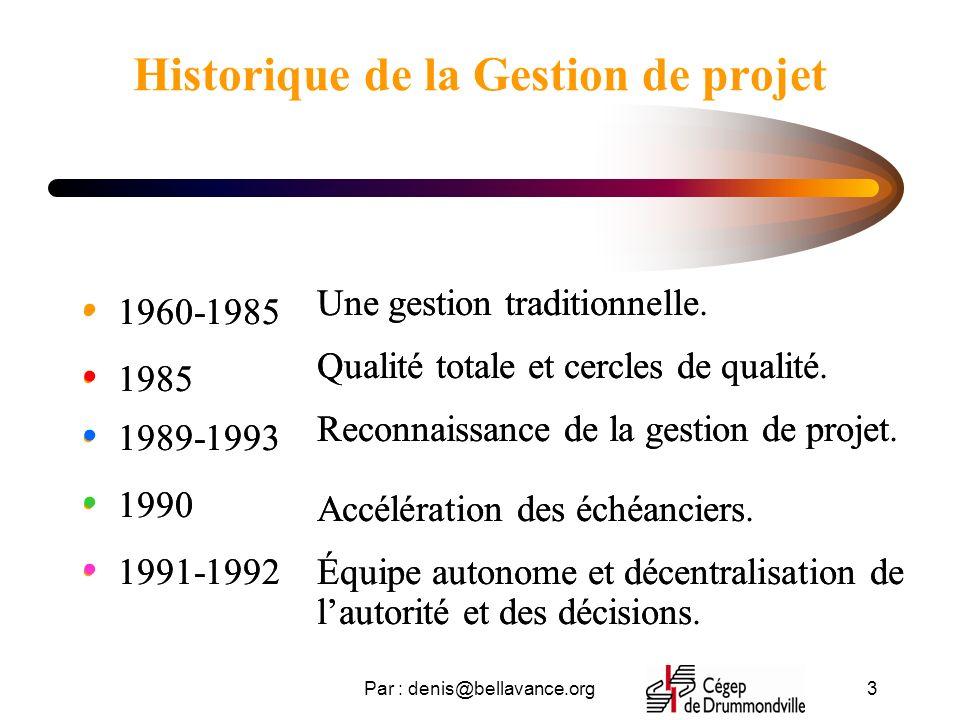 Par : denis@bellavance.org3 Historique de la Gestion de projet 1960-1985 1985 1989-1993 1990 1991-1992 Une gestion traditionnelle Qualité totale et ce
