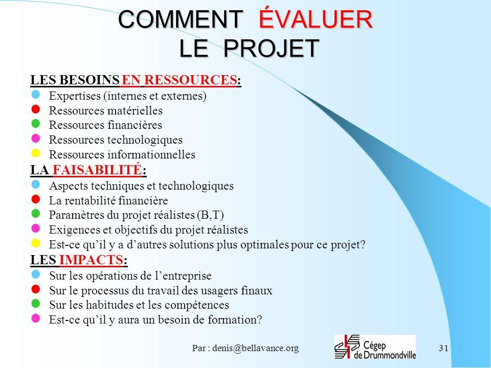 Par : denis@bellavance.org31 COMMENT ÉVALUER LE PROJET LES BESOINS EN RESSOURCES: Expertises (internes et externes) Ressources matérielles Ressources