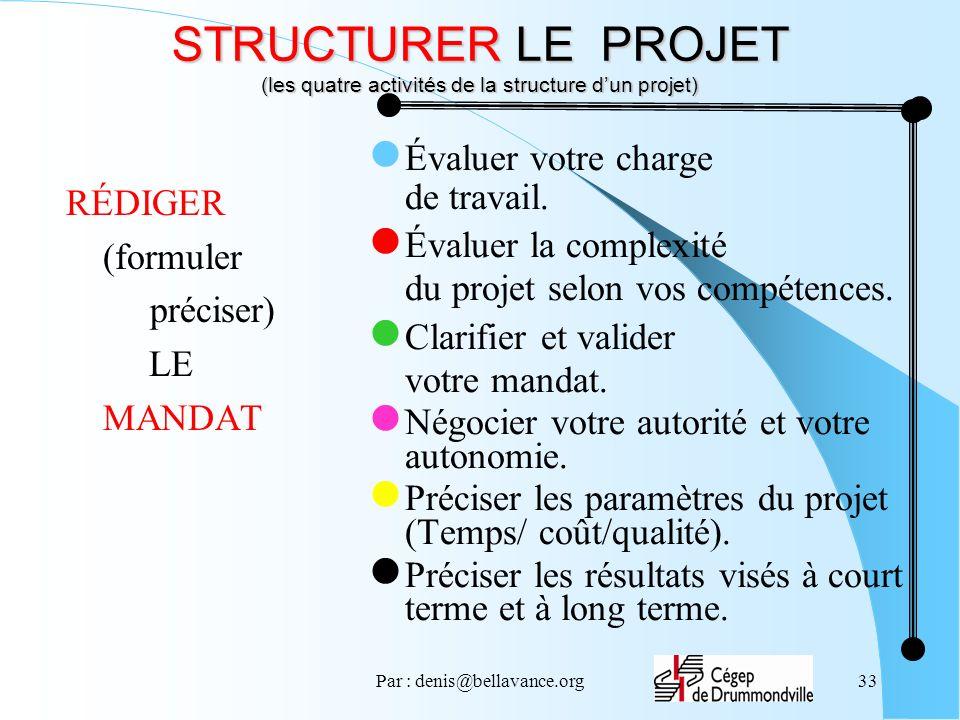 Par : denis@bellavance.org33 STRUCTURER LE PROJET (les quatre activités de la structure dun projet) RÉDIGER (formuler préciser) LE MANDAT Évaluer votre charge de travail.
