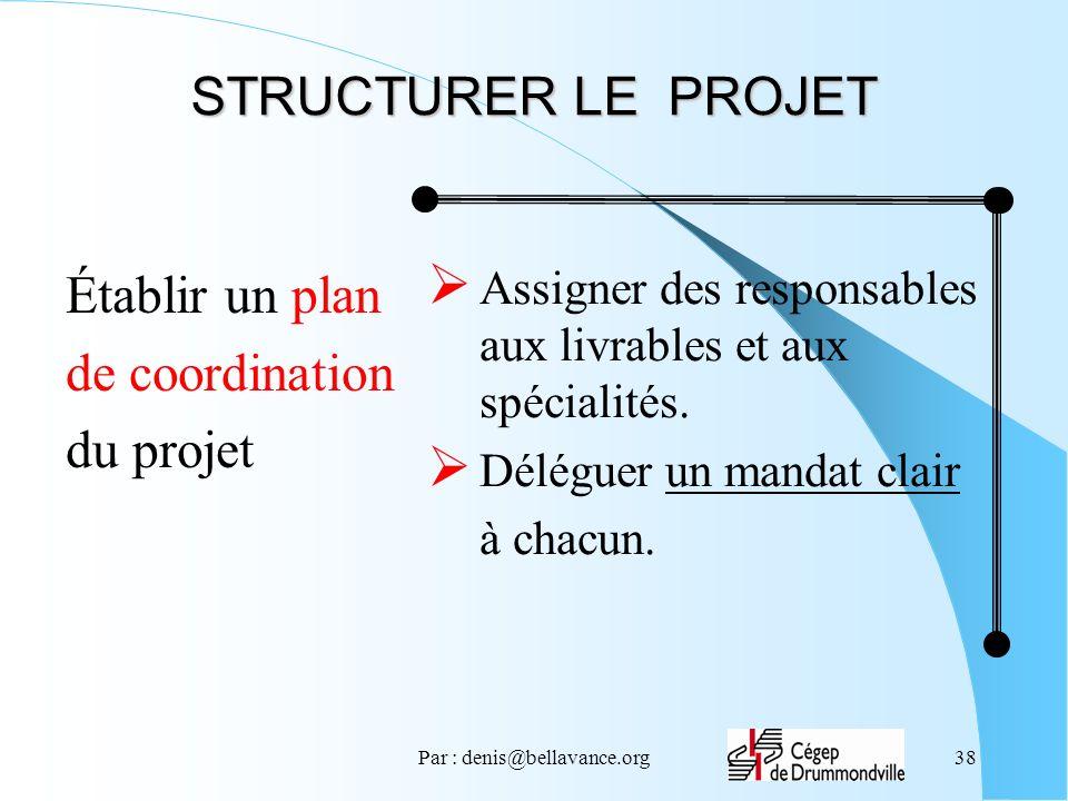 Par : denis@bellavance.org38 STRUCTURER LE PROJET Établir un plan de coordination du projet Assigner des responsables aux livrables et aux spécialités.
