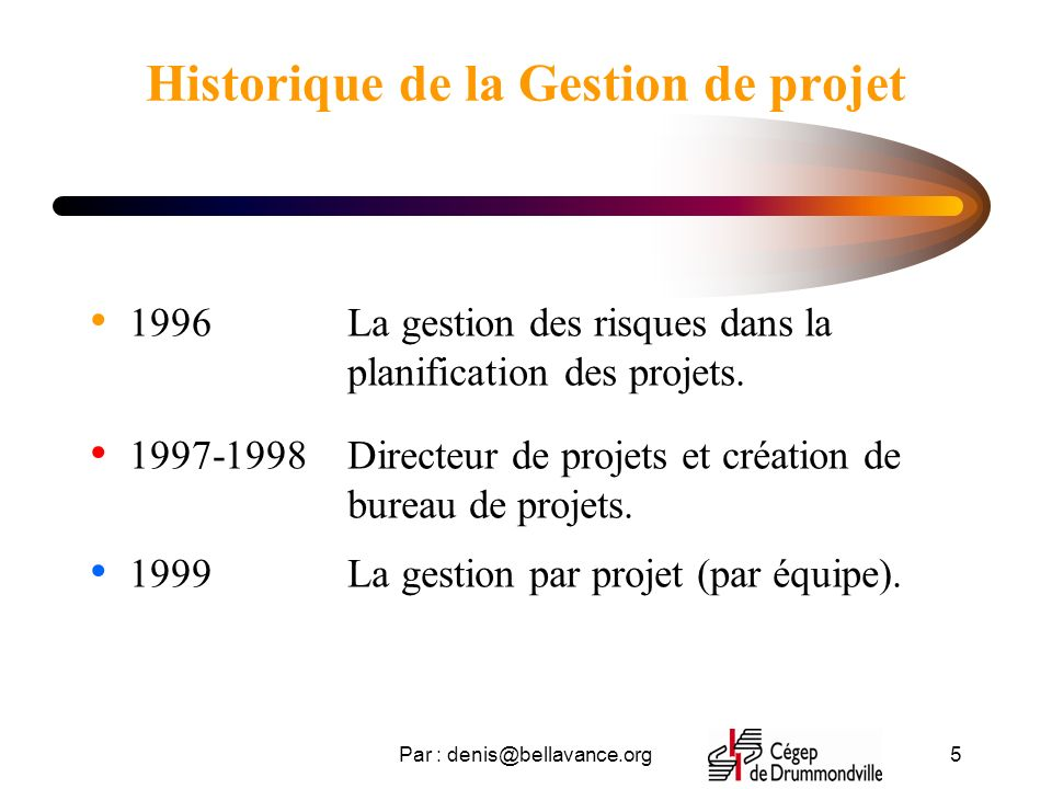 Par : denis@bellavance.org5 Historique de la Gestion de projet 1996 1997-1998 1999 La gestion des risques dans la planification des projets.