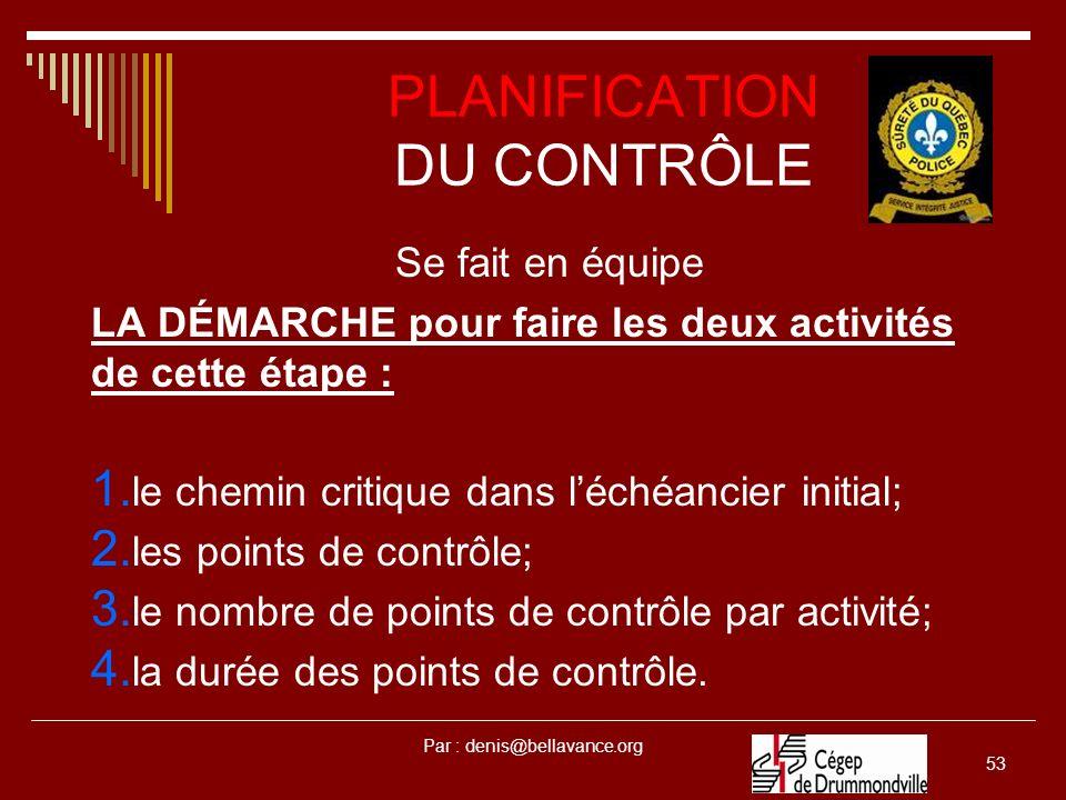 Par : denis@bellavance.org 53 PLANIFICATION DU CONTRÔLE Se fait en équipe LA DÉMARCHE pour faire les deux activités de cette étape : 1.