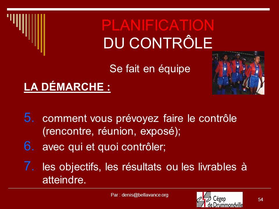 Par : denis@bellavance.org 54 PLANIFICATION DU CONTRÔLE Se fait en équipe LA DÉMARCHE : 5. comment vous prévoyez faire le contrôle (rencontre, réunion