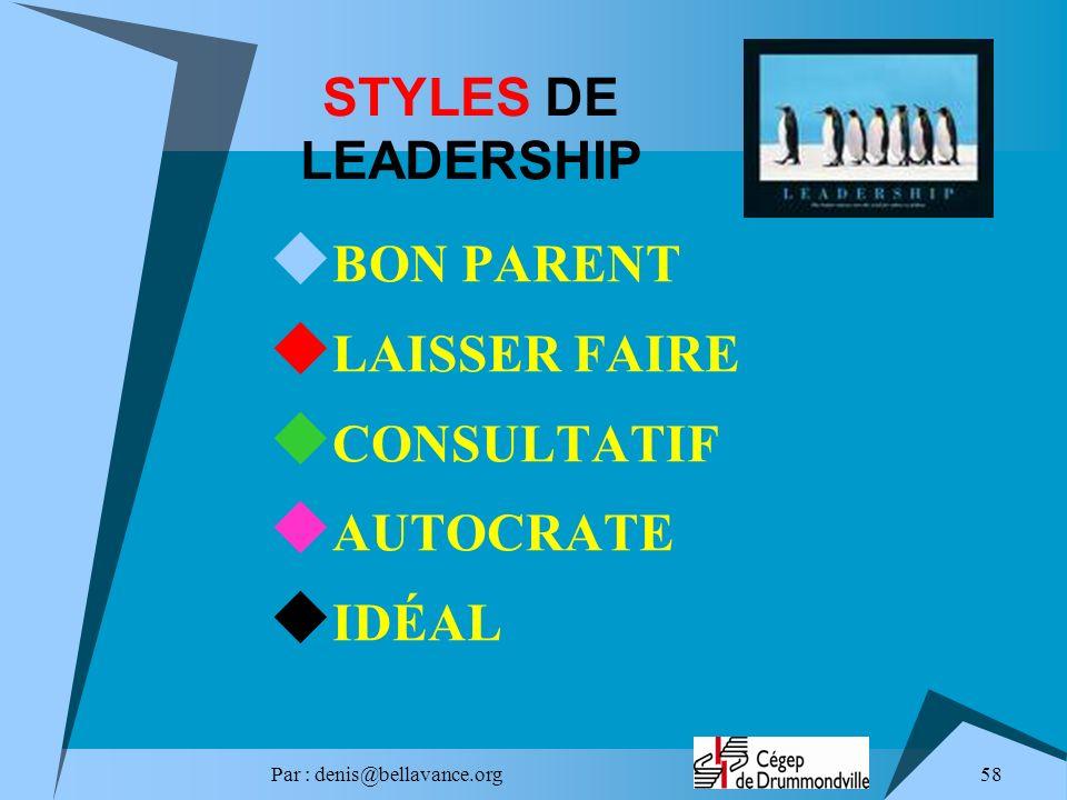 Par : denis@bellavance.org 58 STYLES DE LEADERSHIP BON PARENT LAISSER FAIRE CONSULTATIF AUTOCRATE IDÉAL