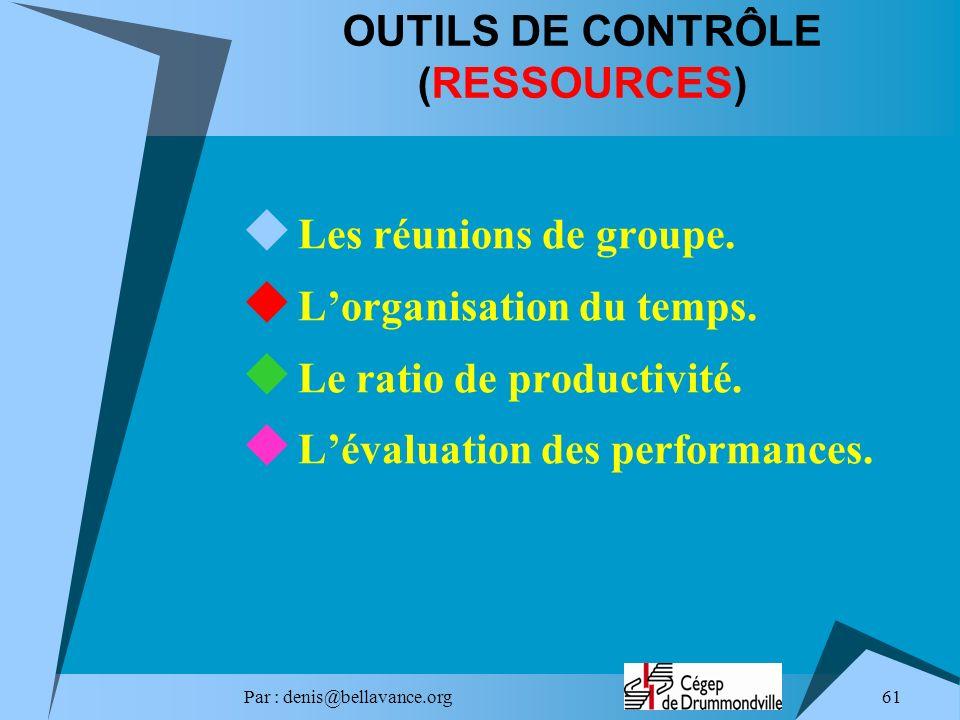 Par : denis@bellavance.org 61 OUTILS DE CONTRÔLE (RESSOURCES) Les réunions de groupe. Lorganisation du temps. Le ratio de productivité. Lévaluation de