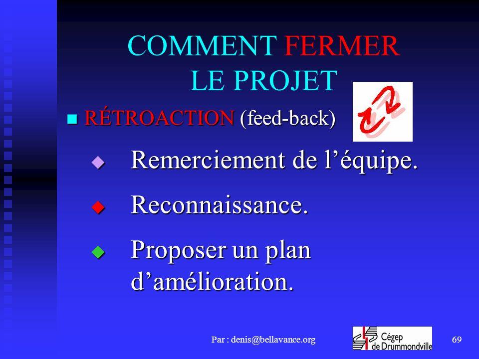 Par : denis@bellavance.org69 COMMENT FERMER LE PROJET RÉTROACTION (feed-back) RÉTROACTION (feed-back) Remerciement de léquipe. Remerciement de léquipe