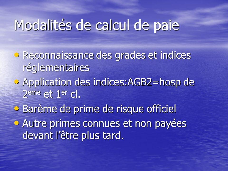 Modalités de calcul de paie Reconnaissance des grades et indices réglementaires Reconnaissance des grades et indices réglementaires Application des indices:AGB2=hosp de 2 eme et 1 er cl.